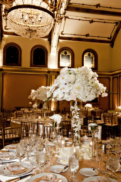 Gold ivory centerpiece centerpieces wedding reception