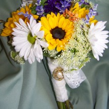 220x220 sq 1468351195661 bridal bouquet yellow sunflowers white daisies pur