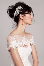 Hayley Paige for the Nordstrom Wedding Suite: Dramatic Tiered Chiffon 'Mila' Gown with Floral Lace Cover-Up
