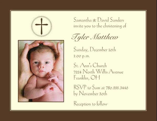 1328630989839 Brownchristening Waltham wedding invitation