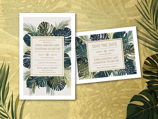 1457115016227 960x720 Wedding Trend Palm Leaf Gold Waltham wedding invitation