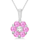 Flower Diamond & Pink Sapphire Pendant Necklace One cut round center diamond with 6 pink sapphire accents, forming a cute flower pendant in gold, platinum & palladium.