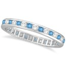 Blue Topaz & Diamond Channel-Set Eternity Ring A graceful, wintery ring with channel-set diamonds & blue topaz. Available in multiple gems for a great birthstone gift.