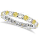1.07ct Fancy Yellow Canary & White Diamond Eternity Band Nearly 30 precious stones cover this stunning band in your choice of 14/18k gold, platinum, or hypoallergenic palladium.