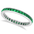 Princess-Cut Emerald Eternity Band Select a polished gold or custom metal band to house a perfect set of more than 30 channel-set, princess-cut emeralds.