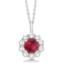 Halo Diamond and Ruby Pendant Necklace A single AAA-quality ruby, surrounded by round cut diamonds, creates a radiant effect. Customize this halo pendant your way.