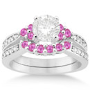 Floral Diamond & Pink Sapphire Engagement Ring Set Pretty in pink, these bead-set side stones accent your choice of center jewel in a gold, platinum, or palladium band.