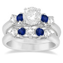 Five Stone Diamond and Sapphire Bridal Ring Set Four brilliant sapphires and five diamonds surround your choice of center stone in a customizable precious metal band.