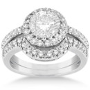 Halo Diamond Engagement Ring & Wedding Band Bridal Set (1.12ct Halo bridal set w/ pave set diamond accents. Craft a unique piece with a center stone and precious metal of your choice.