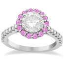 Halo Diamond & Pink Sapphire Engagement Ring Your custom center stone in a halo of pink sapphires plus round diamonds on a unique band of palladium platinum or gold.