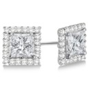 Pave-Set Square Diamond Earring Jackets for Studs These halo earring jackets for colored or colorless diamond studs can fit round or princess cut stones in any 14k gold.