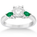 Pear Cut Three Stone Emerald Engagement Ring Two pear-cut emeralds offset your choice of center stone. Design your own engagement ring in a range of pecious metals.