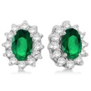 Lady Di Oval Emerald & Diamond Accented Earrings 2.05ct Inspired by Lady Di's classic ring, these earrings are available with multiple gems & in 14k white, yellow & rose gold.