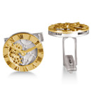 Clock Design Cufflinks 14k Yellow Gold & Sterling Silver Time is money! Save both with our Roman numeral clock cufflinks, stylishly designed in 14k gold and sterling silver.