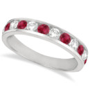 Channel-Set Ruby & Diamond Ring 1.20ct Alternating round diamonds & rubies are channel-set in an elegant polished gold band, as well as other custom metals.