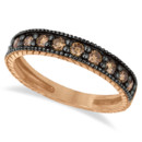 Champagne Diamond Black Rhodium Ring Band The vintage milgrain edging flawlessly accents these 10 chocolate diamonds on a 14k rose, white, or yellow gold band.