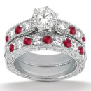 Antique Diamond & Ruby Bridal Set Vintage beauty exudes from 23 sparkling gems, alternating on a custom precious metal band with milgrain and scroll work.