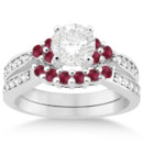 Floral Diamond and Ruby Engagement Ring & Band Select from a range of carat weights and shapes for a center stone on this unique ruby bridal set in any precious metal.
