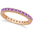Amethyst Eternity Stackable Ring Band Pink gold and purple gems--a winning combination! Also available in other metals, this ring is stylish and distinctive.