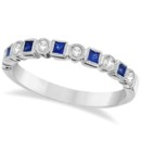 Princess Cut Blue Sapphire & Diamond Ring Band Alternating square sapphires and round diamonds make this customizable band a nontraditional wedding ring she'll love.