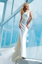 Style No. T112238 One-shoulder soft satin slim A-line gown with asymmetrical neckline, single shoulder strap features hand-beaded motif, soft side draped bodice with ornately hand-beaded natural waistband, chapel length train.