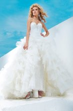 Style No. T112248 Two-piece lace over sequin and organza dress set, strapless rose pattern lace over sequin sheath with sweetheart neckline embellished with jeweled hand-beaded trim and scalloped hemline with sweep train, removable multi-layered ruffled organza ball gown skirt with jewel beaded dropped waistband with side closure and chapel length train. Detachable spaghetti and halter straps included.