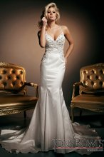 T212269 Sleeveless luxurious satin mermaid gown with hand-beaded spaghetti straps that crisscross in back, modified sweetheart neckline, bodice encrusted with hand-beaded embroidered jeweled motif accented with Swarovski crystals, low scooped back bodice, chapel length train.