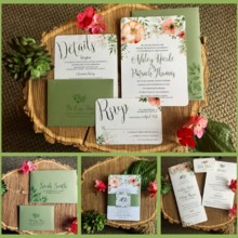 220x220 sq 1502992680941 peach and green invitation