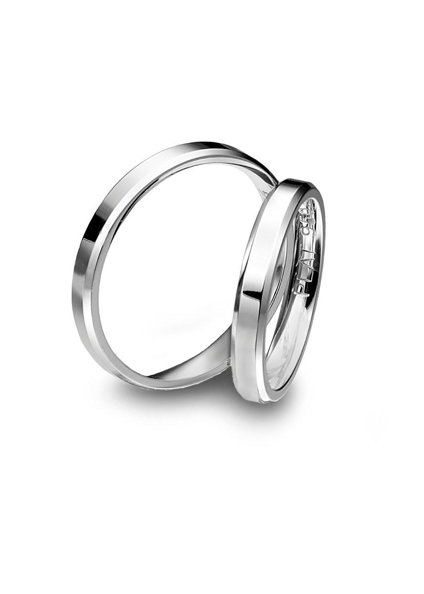 Diana Platinum 3mm Flat Bevel Matching Wedding Bands