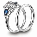 <b>Jamesallen.com platinum engagement ring and wedding band</b> <br />Platinum 3-stone diamond engagement ring and matching wedding band features pear-shaped blue sapphires by JamesAllen.com.