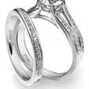 Diana Classic pave split shank platinum engagement ring with matching wedding band.