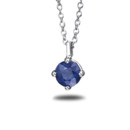 Premier Sapphire Solitaire Pendant <br />Beautiful in color, this Blue Nile sapphire pendant is perfectly complemented by a platinum setting with a matching platinum cable chain. The sapphire stone is hand-selected for the vivid medium dark blue and subtle violet hue.