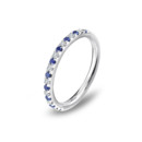 Pavé Sapphire and Diamond Ring <br />Delicate and brilliant, this Blue Nile platinum wedding band features alternating pavé set diamonds and sapphires for a classic and colorful look.