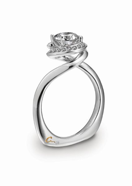 <b>A. JAFFE platinum engagement ring</b><br>A. JAFFE platinum swirl engagement ring.