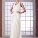 Hazel Gown - 80491  This sleeveless halter chiffon dress is classic and ethereal. It dips in the front into a v-shape and ties in the back. The ruching across the waist and bust accentuate the figure and create a universally flattering silhouette.