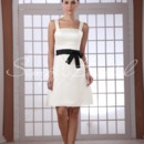 Dayna Gown - 80489  The sash on this dress is removable.This simple satin A-line dress is perfect for chic bridesmaids.