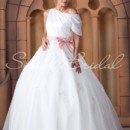 Una Gown - 80364  The sash on this dress is removable.The Una gown is an obvious choice for the bride who wants to look like a fairytale princess on her big day. A satin chiffon bodice is draped from the shoulders to the waist, and flows into a delicate organza skirt.