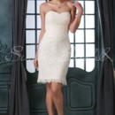 Shea Gown - 80412  With a sheath silhouette and a sweetheart neckline, this lace knee length dress is a classy example of a short wedding dress. The strapless style and back zipper are popular choices for wedding dresses.