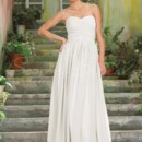 Irene Gown - 80135  The Irene is an elegant floor length chiffon gown. The bodice is beautifully ruched and the neckline is a classic sweetheart neckline. This dress has a feminine and romantic feel, perfect for a lovely garden wedding.