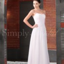 Claire Gown - 80013  This A-line silhouette features a shirred strapless bodice and a flowy chiffon skirt. The ideal choice for outdoor or casual weddings, or for brides that crave simple sophistication.