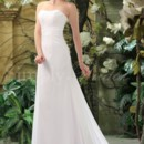 Cara Gown - 80003 White chiffon is a must-have for the simple and elegant bride. This slim line silhouette features a dipped neckline and a strapless shirred bodice that is pleated in the back. Floral embroidery and beading on the front side adds a subtle dimension.