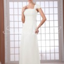 Adele Gown - 80486 This dress is a great choice for a classic church wedding. The a-line silhouette is form fitting around the bust while the chiffon fabric at the waist contours to your natural shape which flatters most body types.