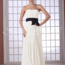Leona Gown - 80493 The sash on this dress is removable.This strapless chiffon dress is ethereal and chic. Delicate chiffon is ruched at the bodice and flows down into a stunning sheer skirt.