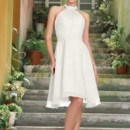 Dina Gown - 80192 The Dina gown is a sophisticated A-line bridesmaid gown made of airy and delicate chiffon. The waist is perfectly defined and light ruching flows into a lovely halter top. Graceful and demure, it is perfect for a garden wedding in the spring.