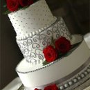 130x130 sq 1334591412437 grayredweddingcake