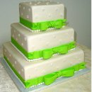 130x130 sq 1357790859138 squarequinceaneracakeforweddingwithbrightgreenribbons