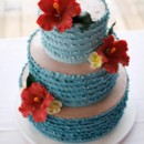 130x130 sq 1394738086144 ombre ruffles cake with sugar hibiscus and plumeri
