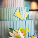 130x130 sq 1394738135874 teal and yellow art deco wedding cak