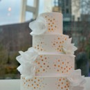 130x130 sq 1432002213035 white cake with wafer paper flowers and gold confe
