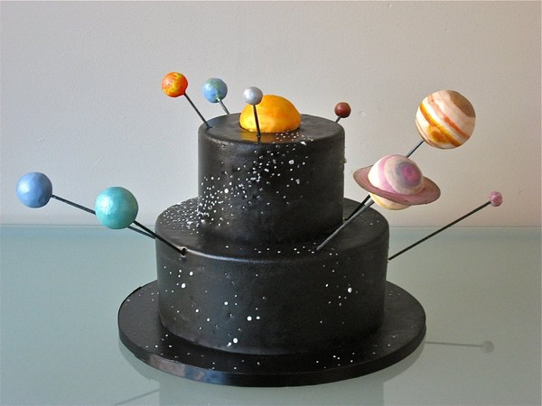 Black Cake With Planets